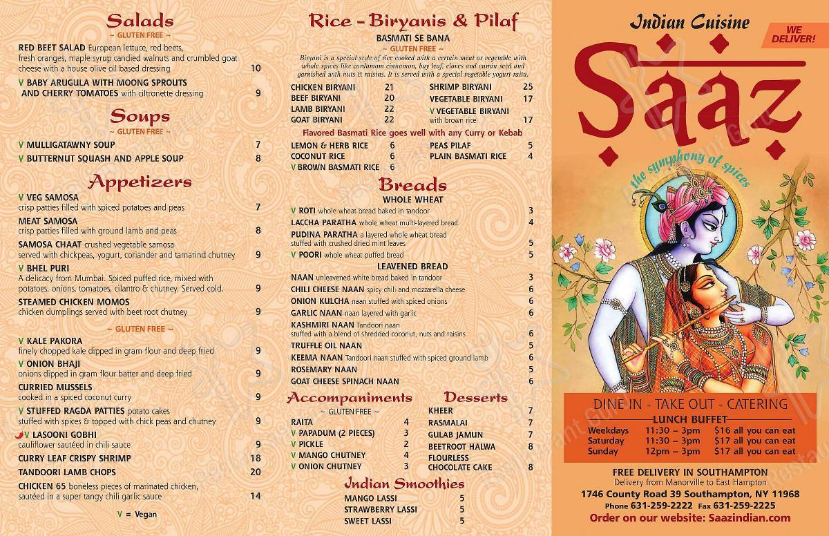 Saaz - Takeout Menu
