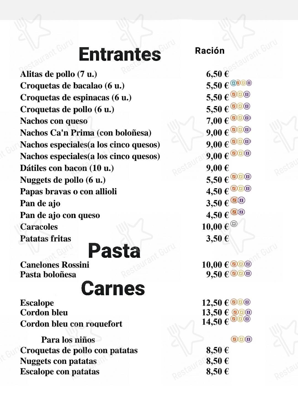 Mira la carta de Ca'n Prima Restaurante Pizzeria