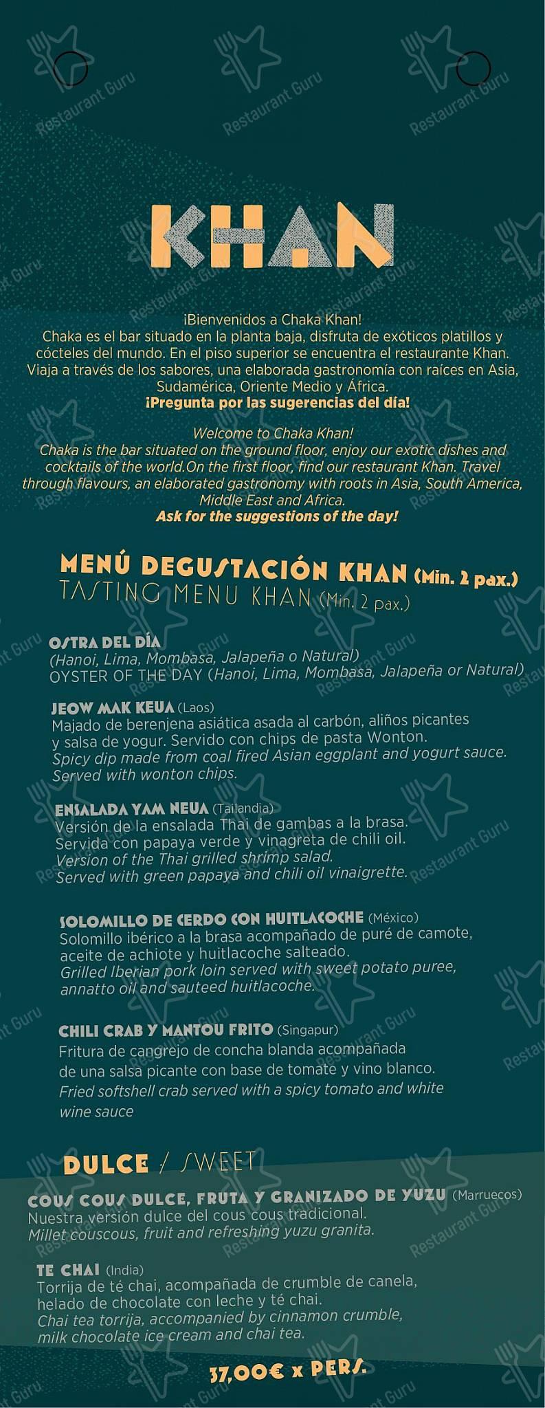 Chaka Khan - Gastro Bar Exotique menu - meals and drinks