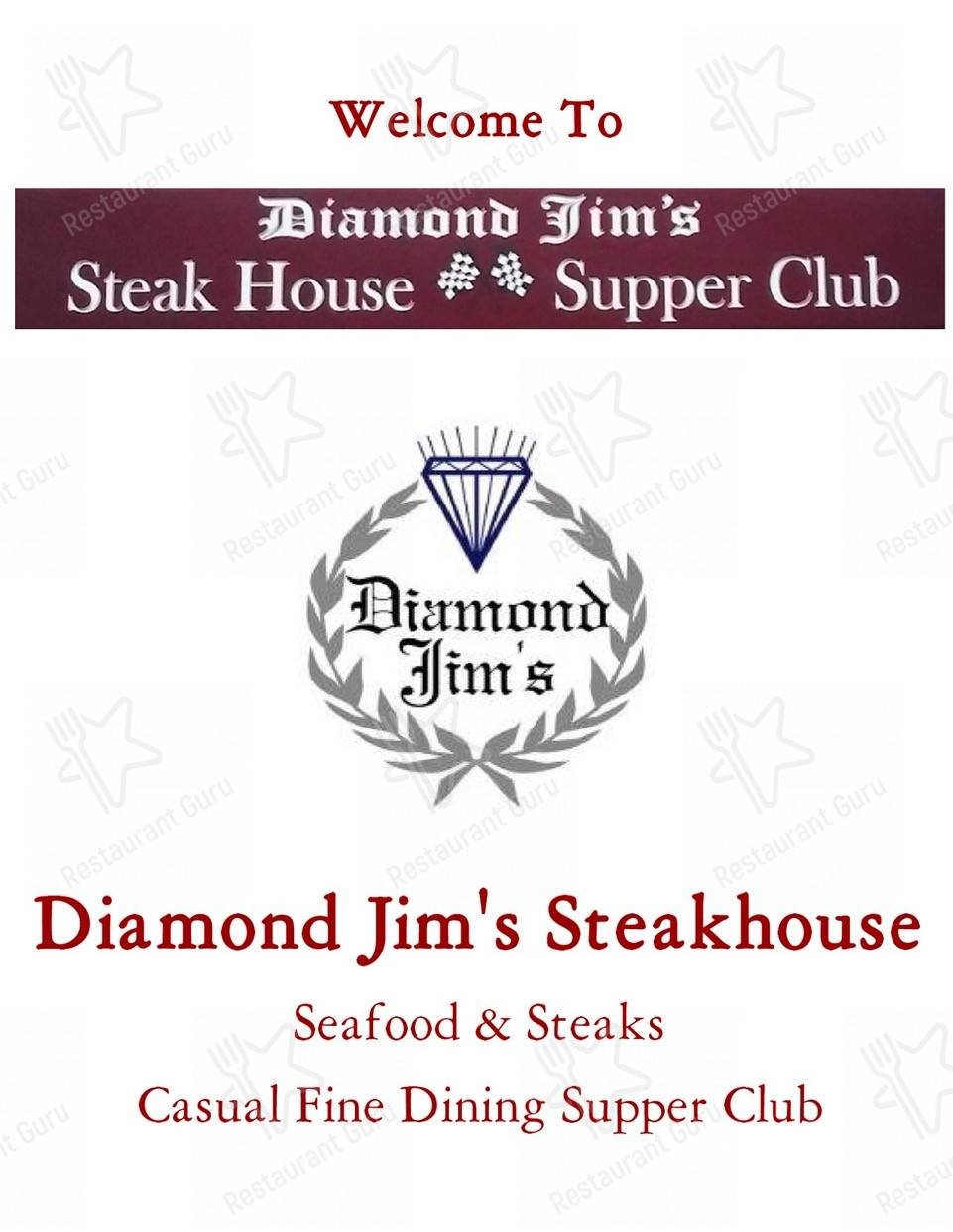Check out the menu for Diamond Jim's Steakhouse