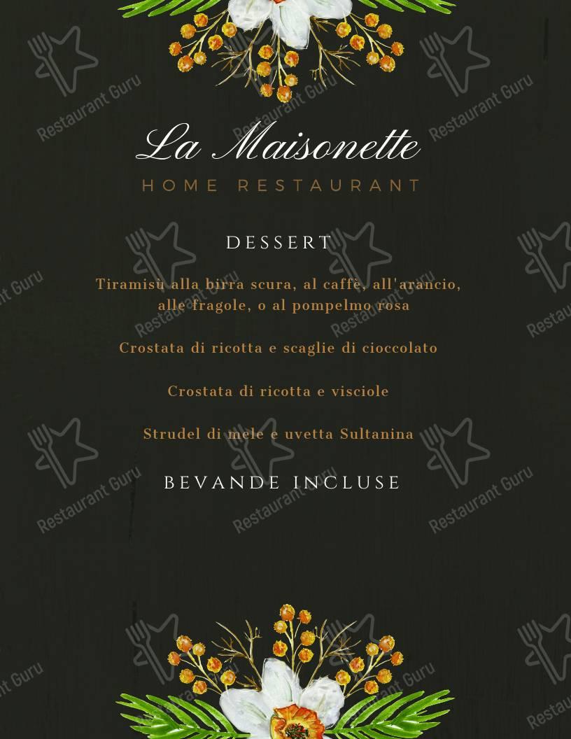 Menu di La Maisonette - piatti e bevande
