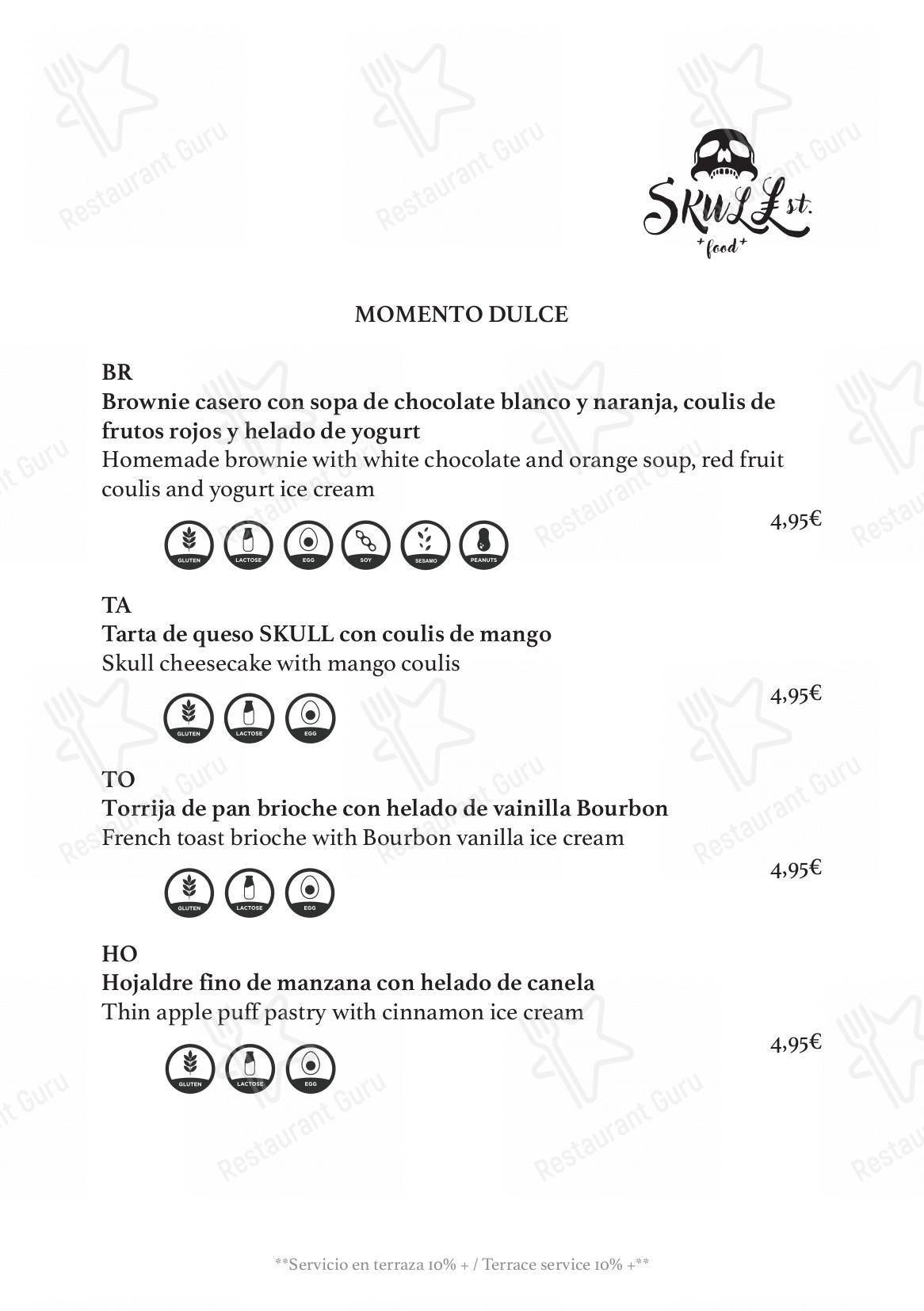 Carta de Skull St. restaurante