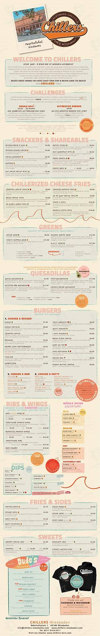 Chillers Speisekarte - Gerichte und Getränke