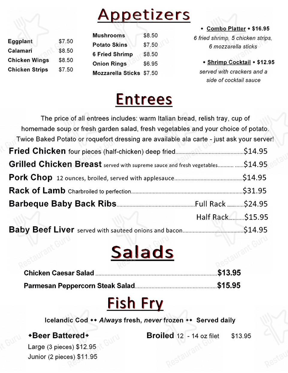 Diamond Jim's Steakhouse menu - meals and drinks