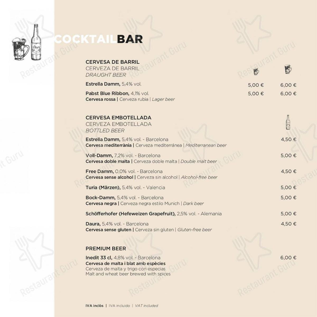 ECHO Restaurant in Barcelona - Cocktail Bar menu