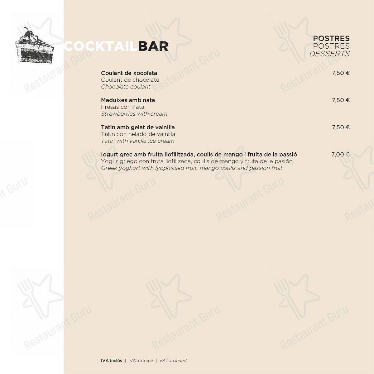 Cocktail Bar menu for the ECHO Restaurant restaurant