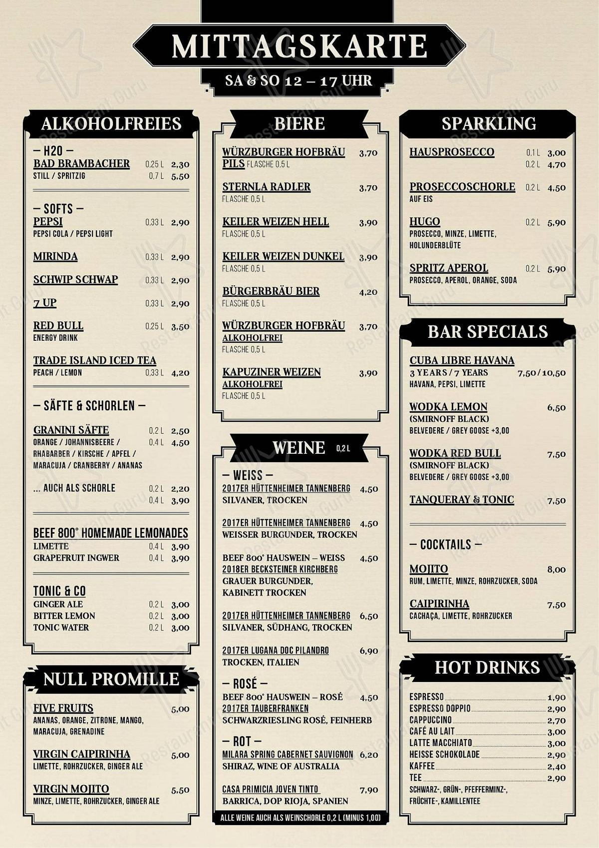 Beef 800° - Grill & Bar - Steakhaus Würzburg menu - dishes and beverages