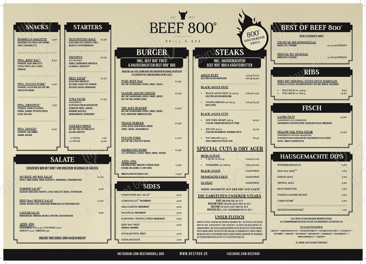 Check out the menu for Beef 800° - Grill & Bar - Steakhaus Würzburg