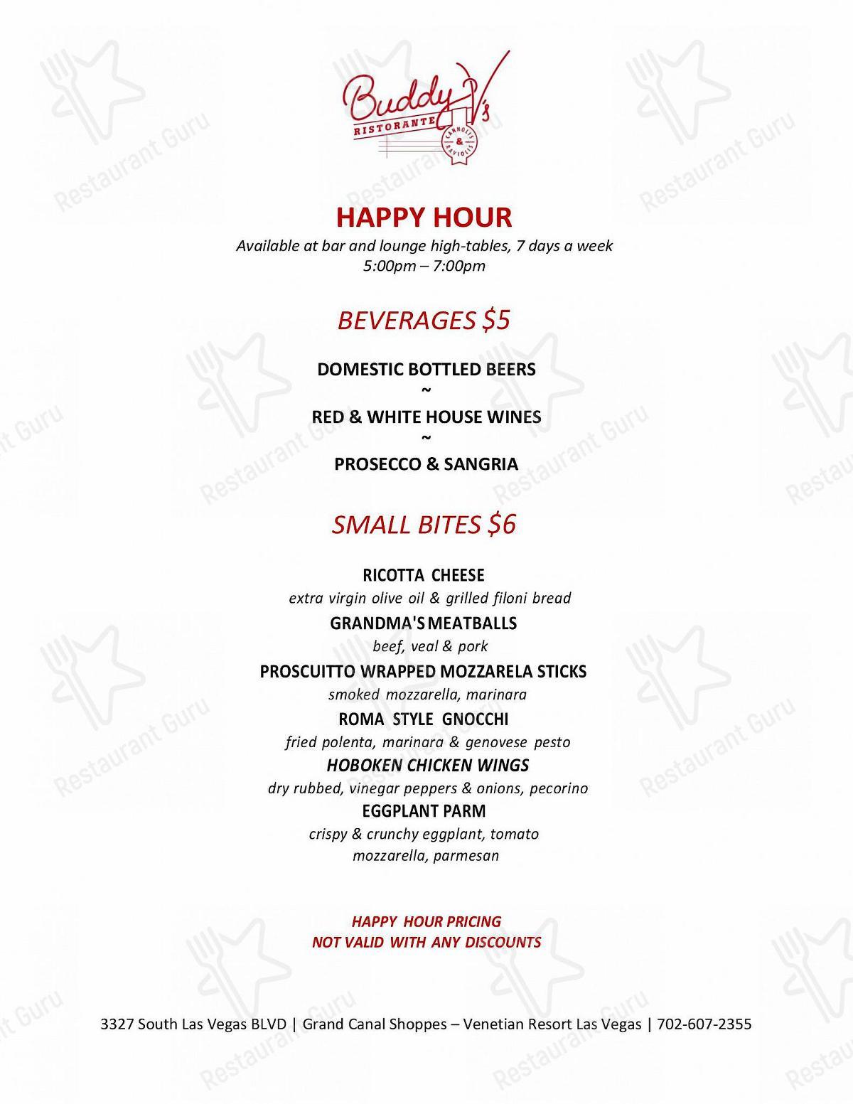 Happy Hour Menu de Buddy V's Ristorante en Las Vegas