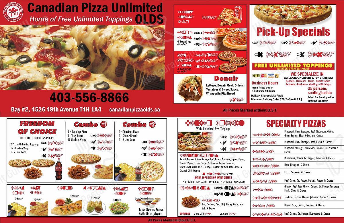 Canadian Pizza Unlimited menu