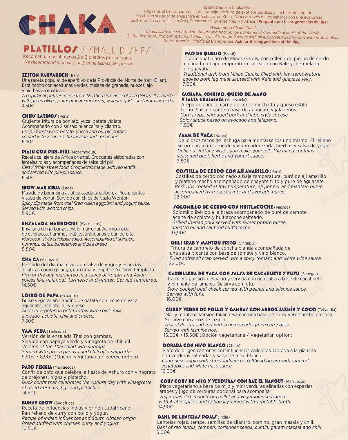 Chaka Khan - Gastro Bar Exotique menu