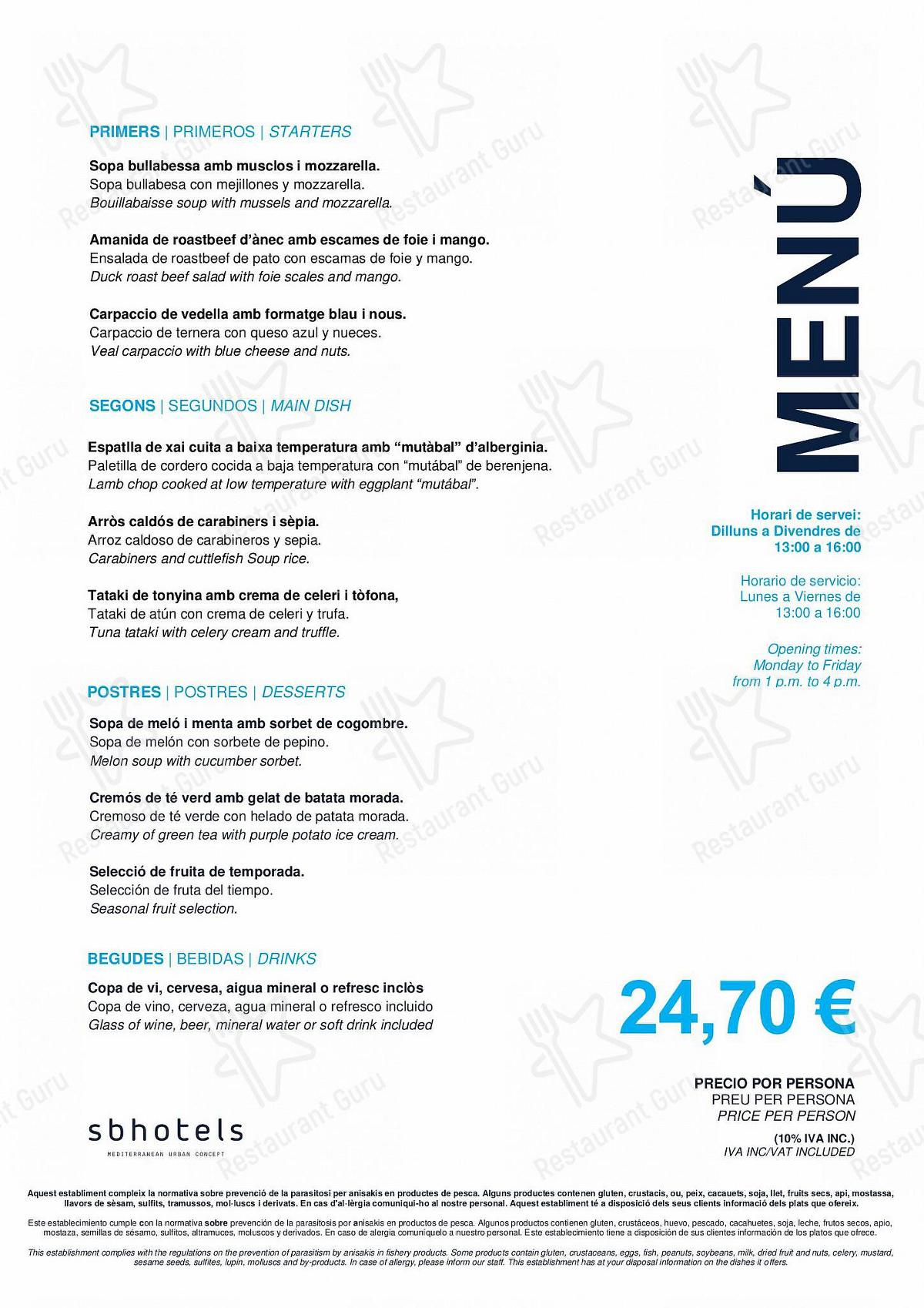 Menu for the ECHO Restaurant restaurant