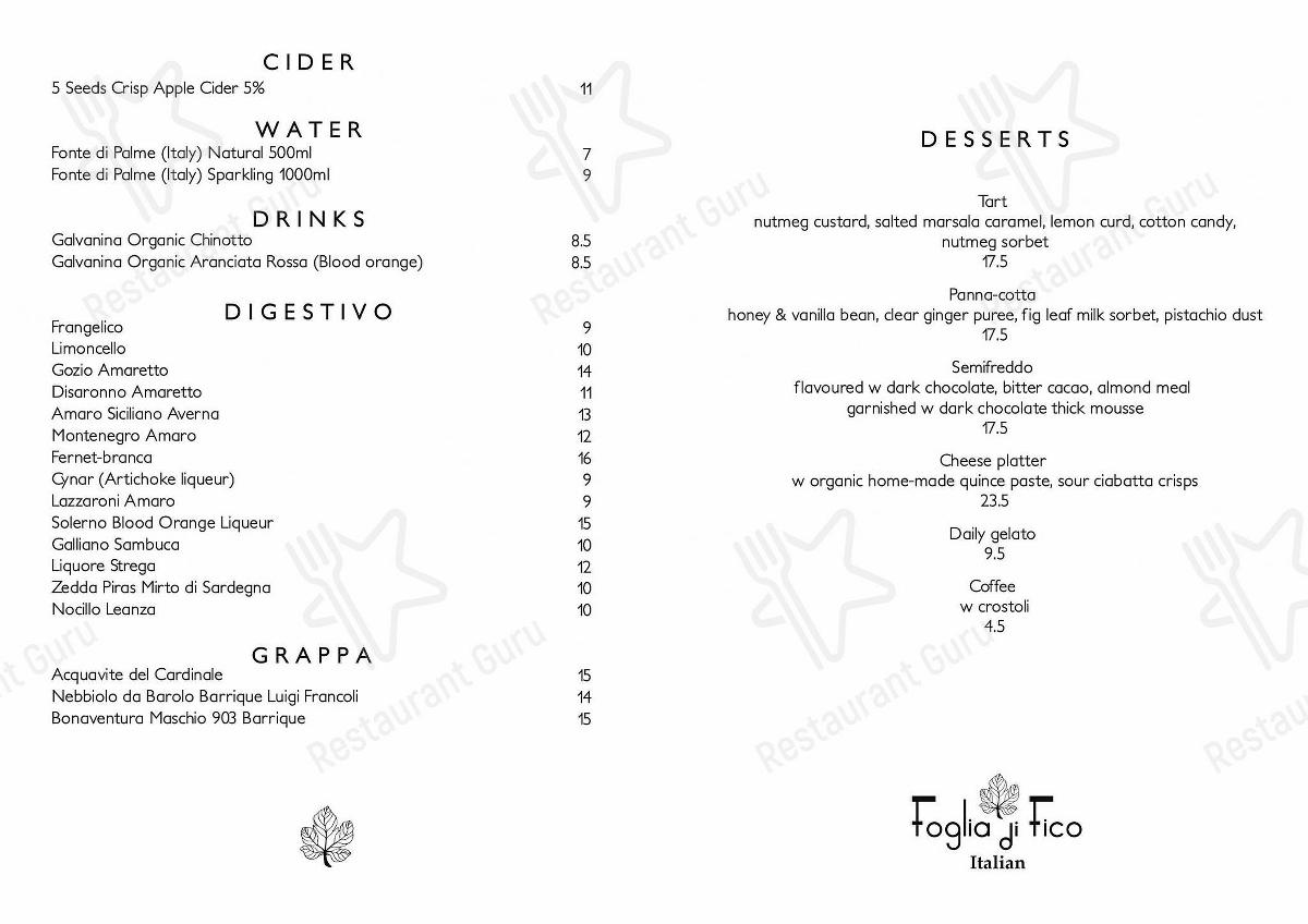 Foglia Di Fico menu - meals and drinks