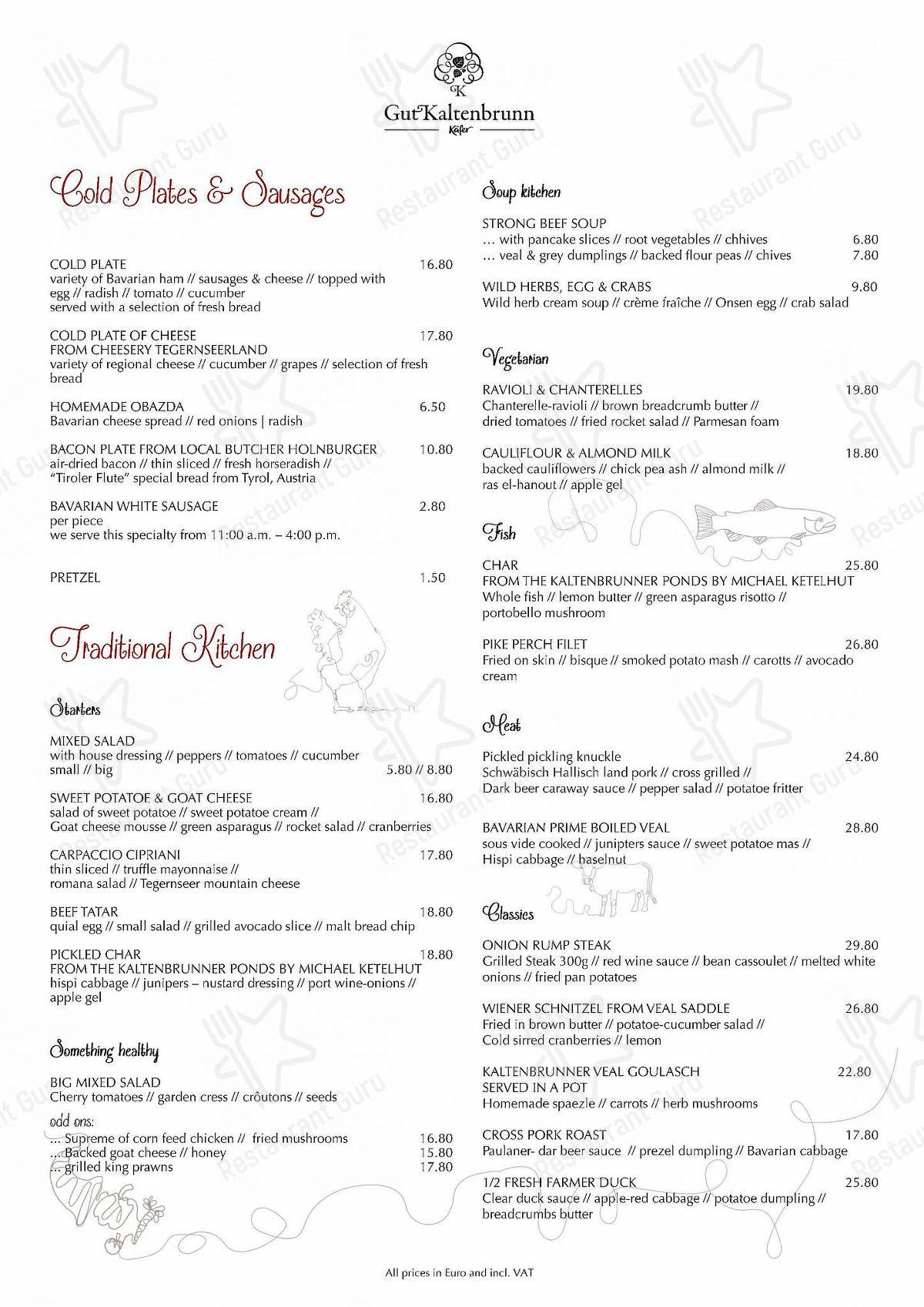 Käfer Gut Kaltenbrunn Speisekarte - Gerichte und Getränke