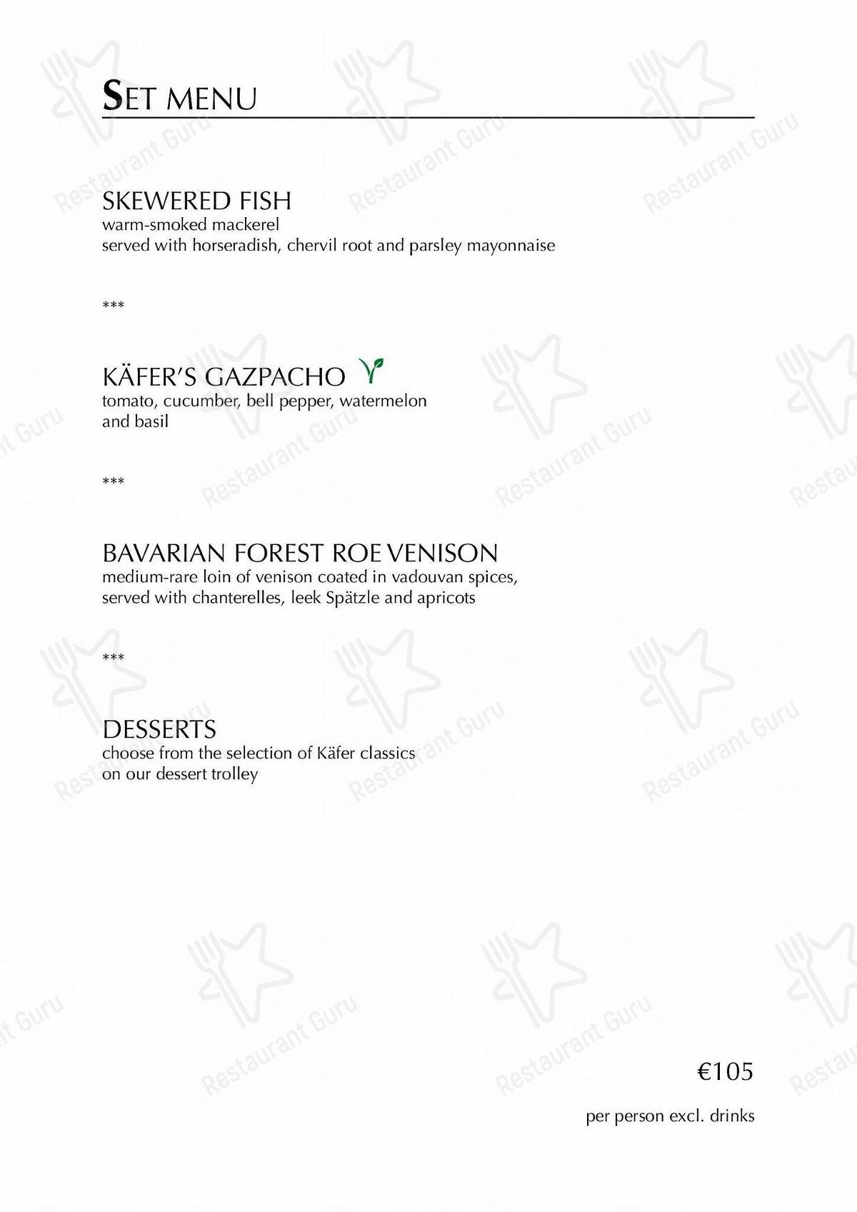 Käfer-Schänke Speisekarte - Essen und Getränke