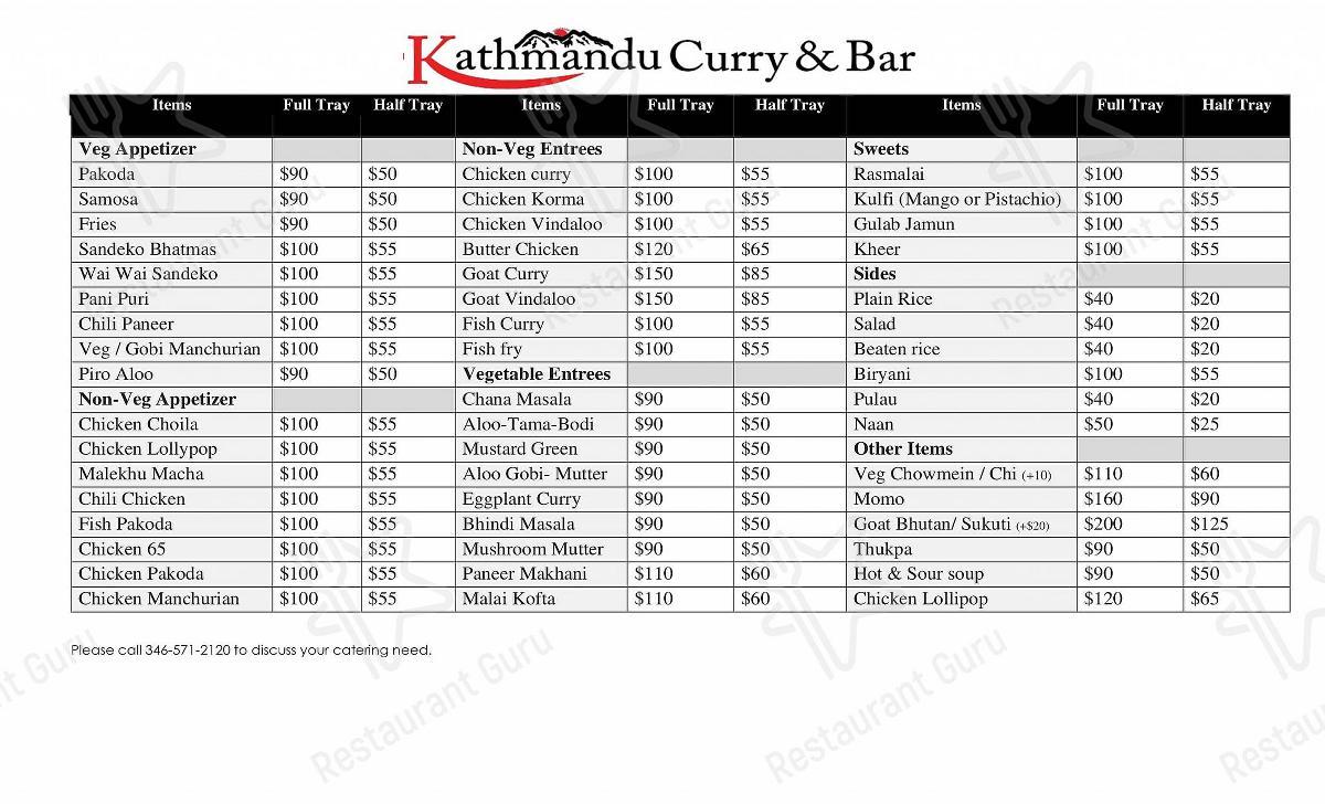 Menu for the Kathmandu restaurant
