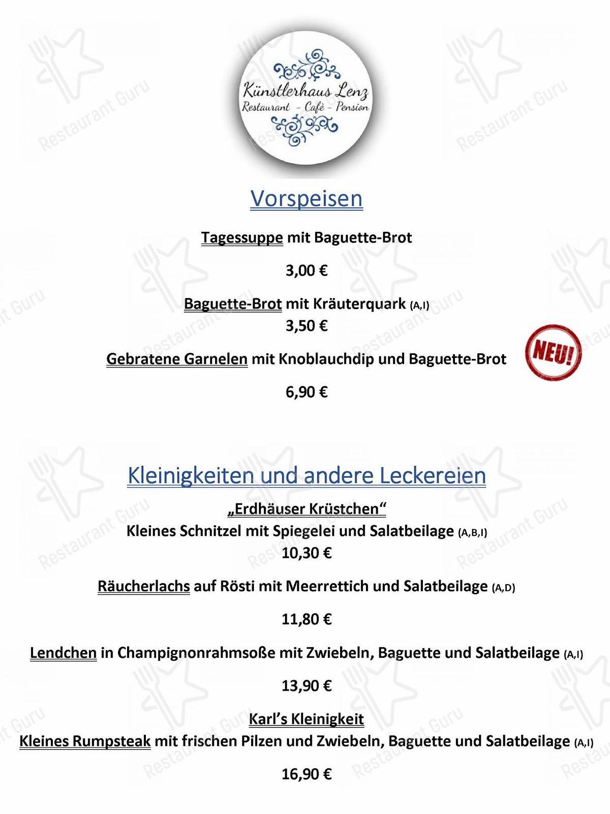 Меню кафе Restaurant Künstlerhaus Lenz