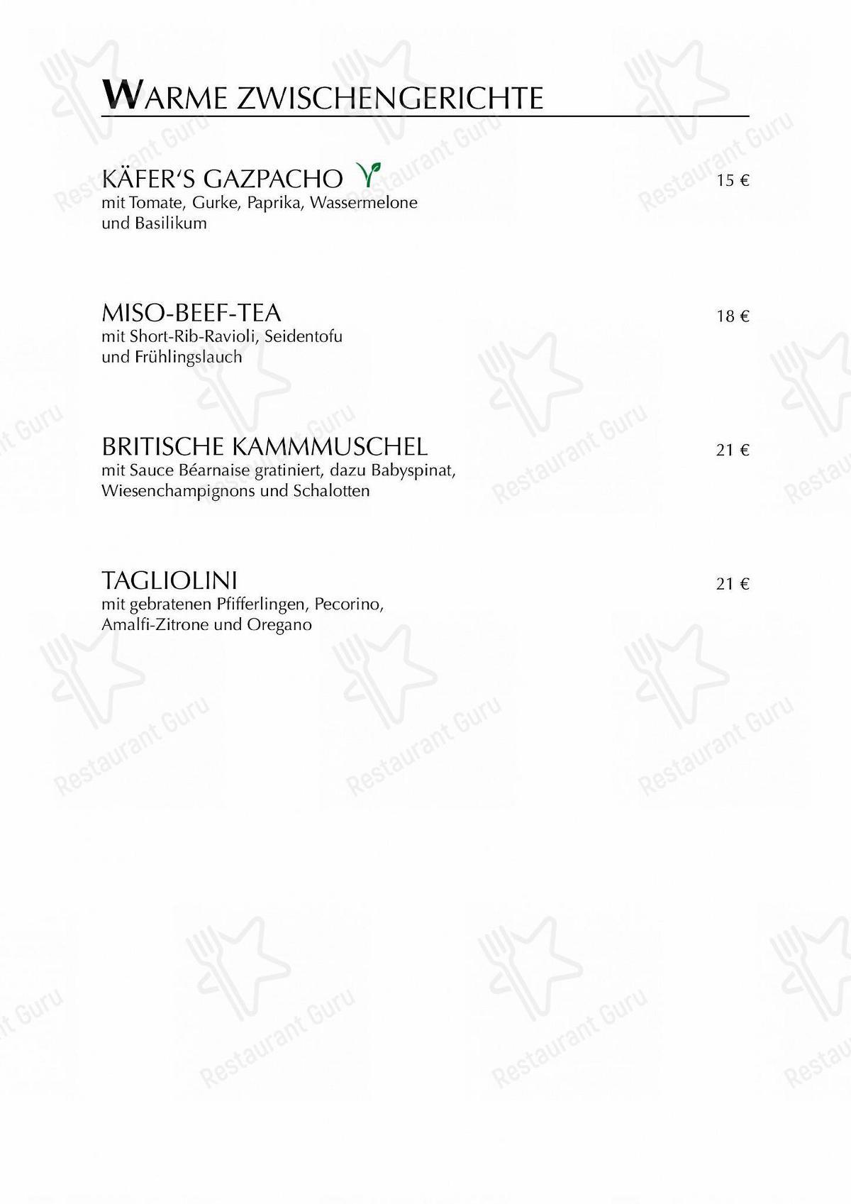 Restaurant Speisekarte von Käfer-Schänke restaurant