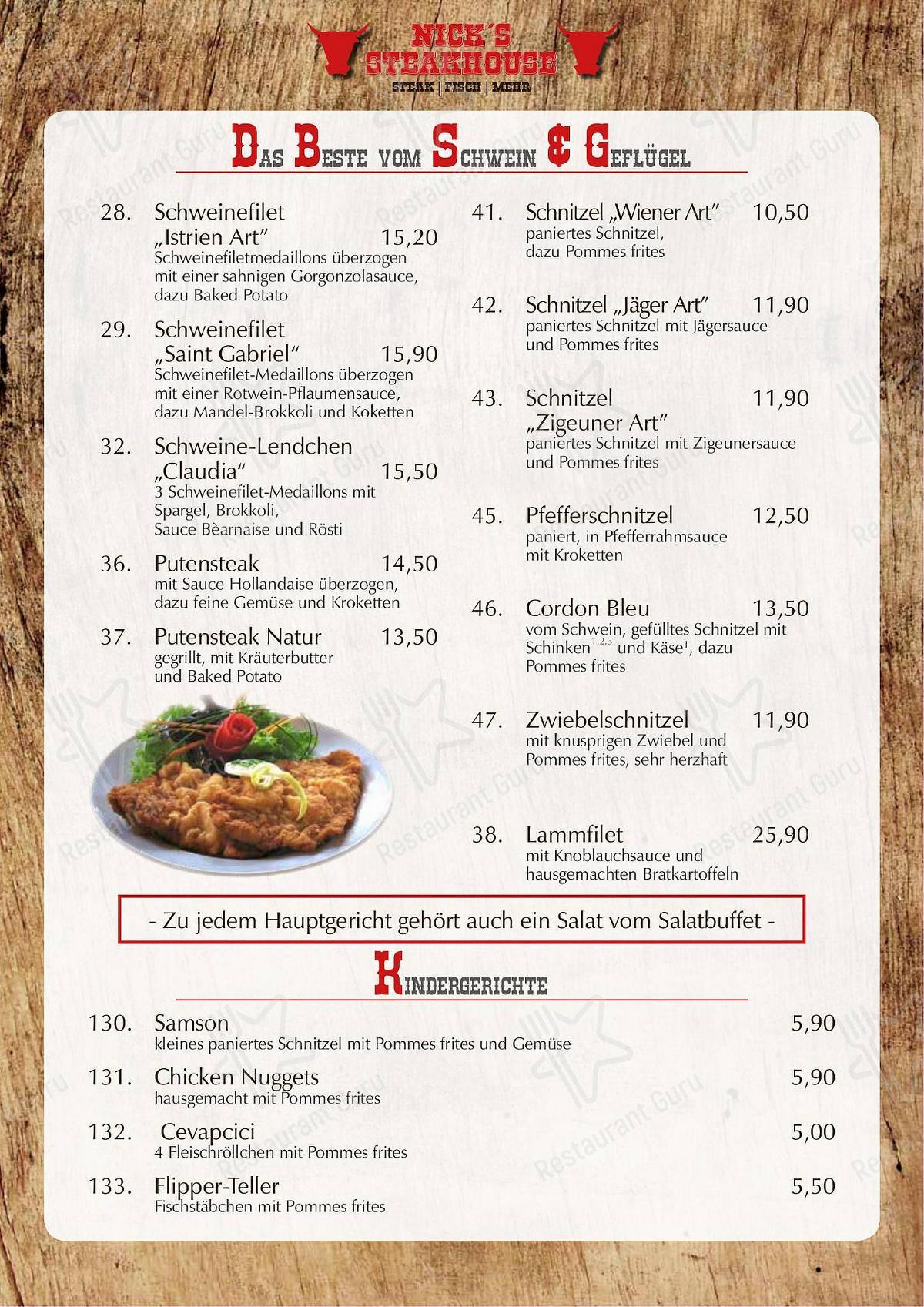Nick's Steakhouse Speisekarte - Essen und Getränke