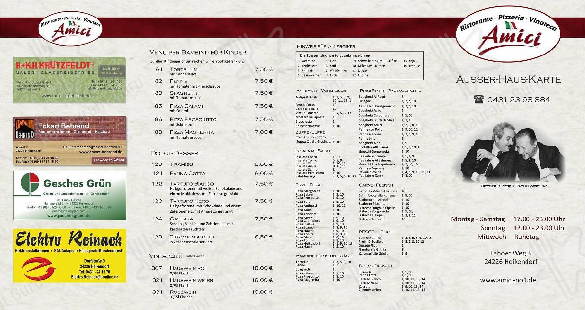 Amici Speisekarte - Gerichte und Getränke