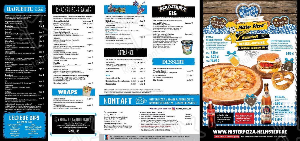 Mister Pizza Speisekarte