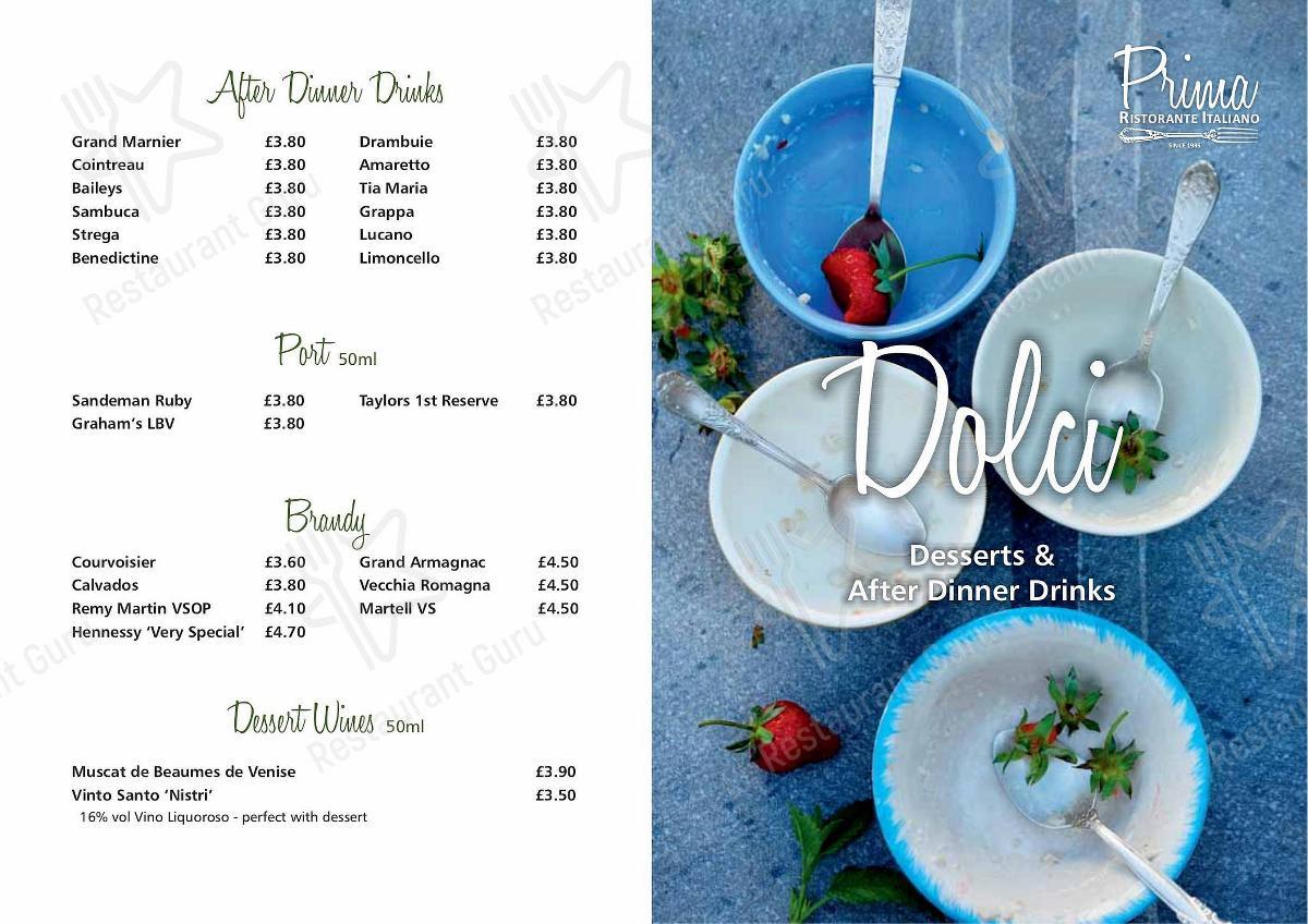 Prima menu - meals and drinks