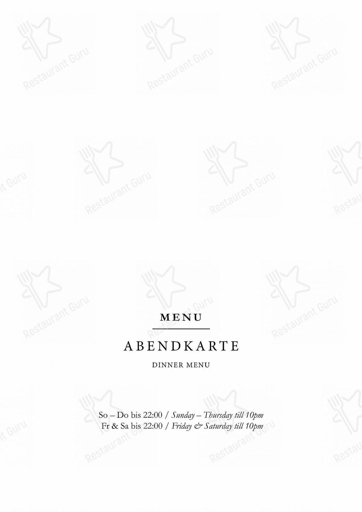 Menu for the Belle Alliance pub & bar