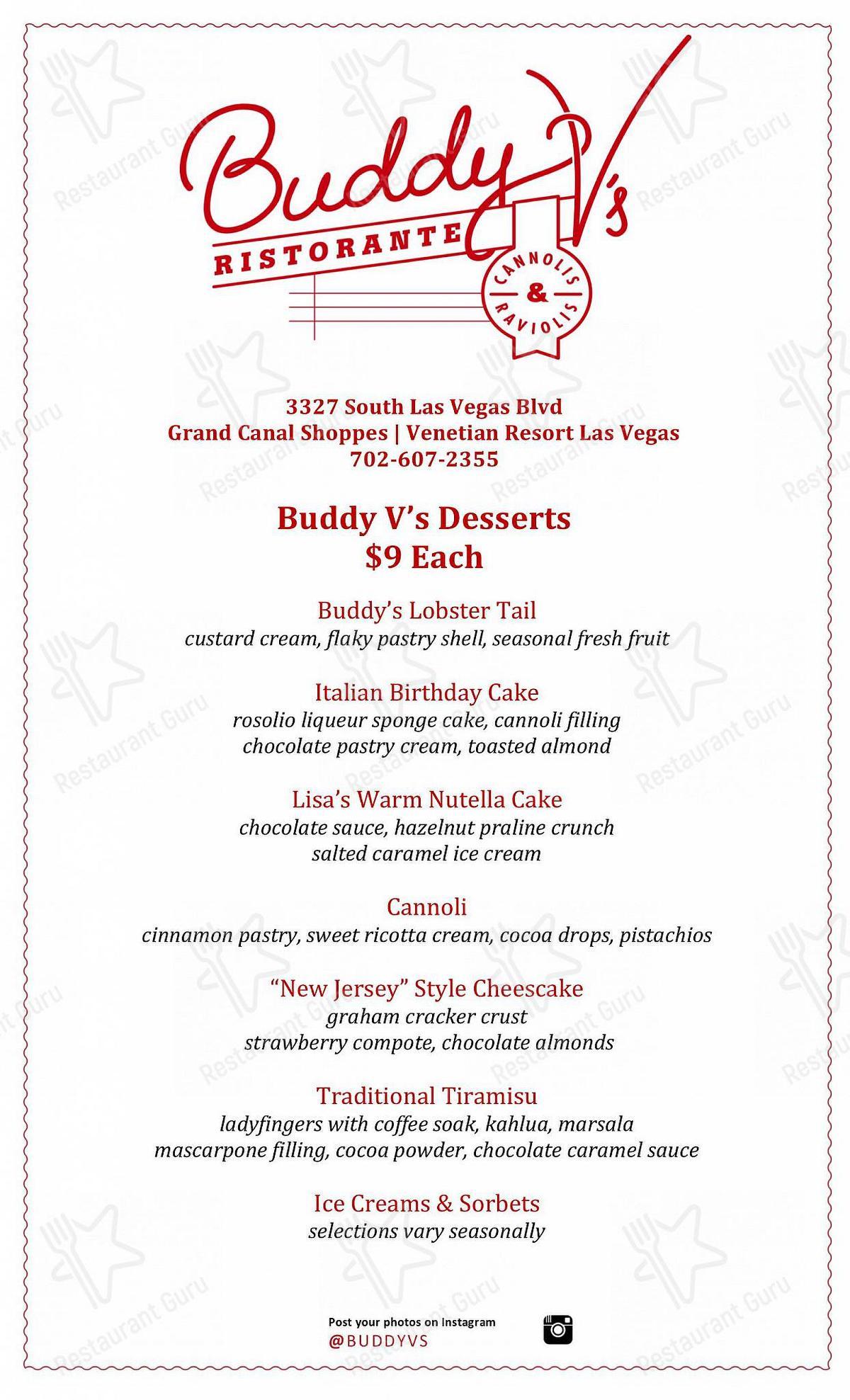 Buddy V's Ristorante en Las Vegas - Dessert Menu