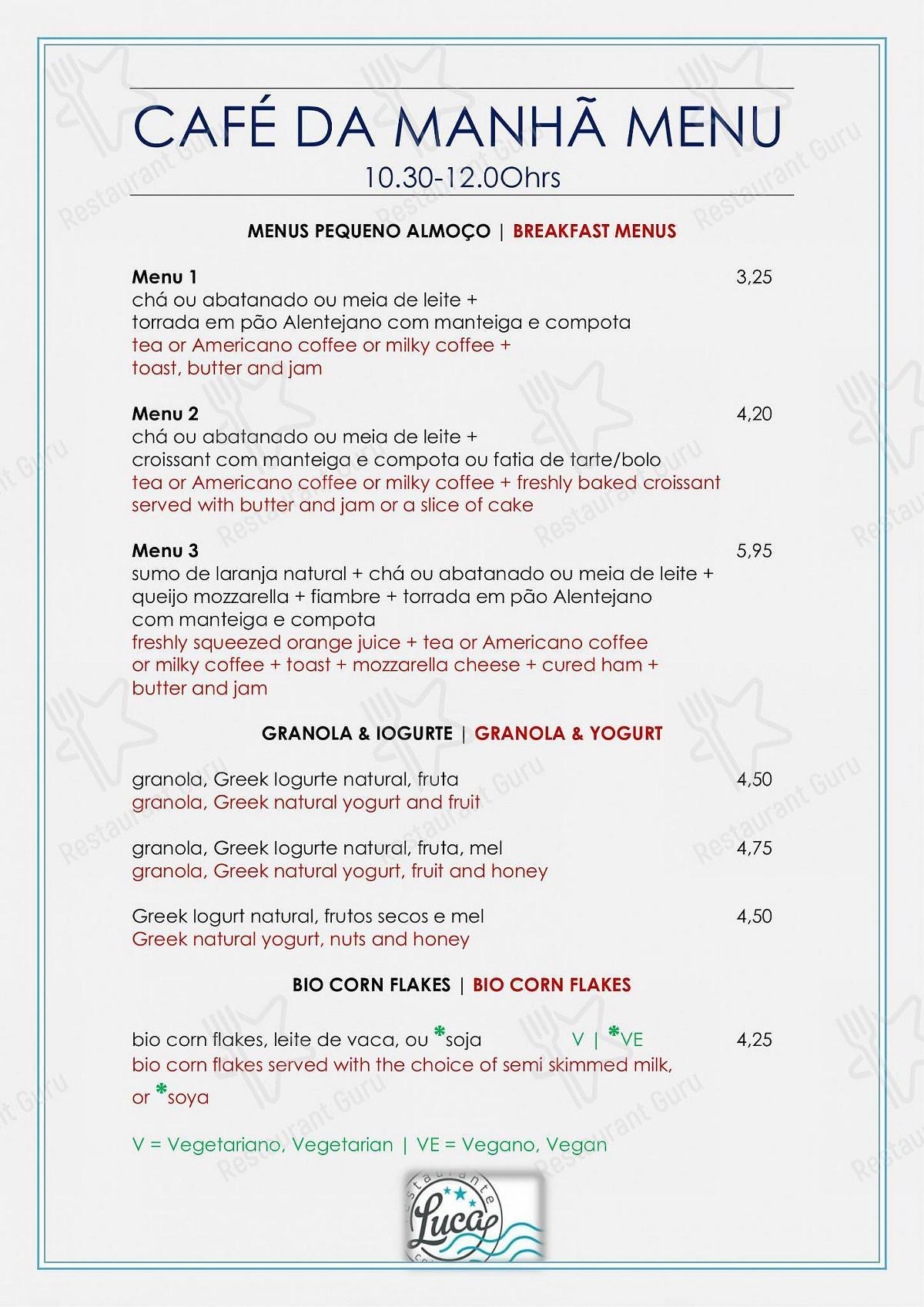 Luca menu
