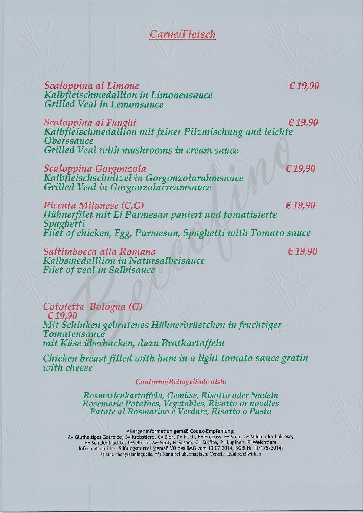 Ristorante Beccofino menu - meals and drinks