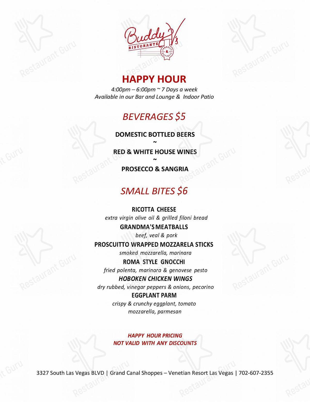 Carta de Buddy V's Ristorante - comidas y bebidas