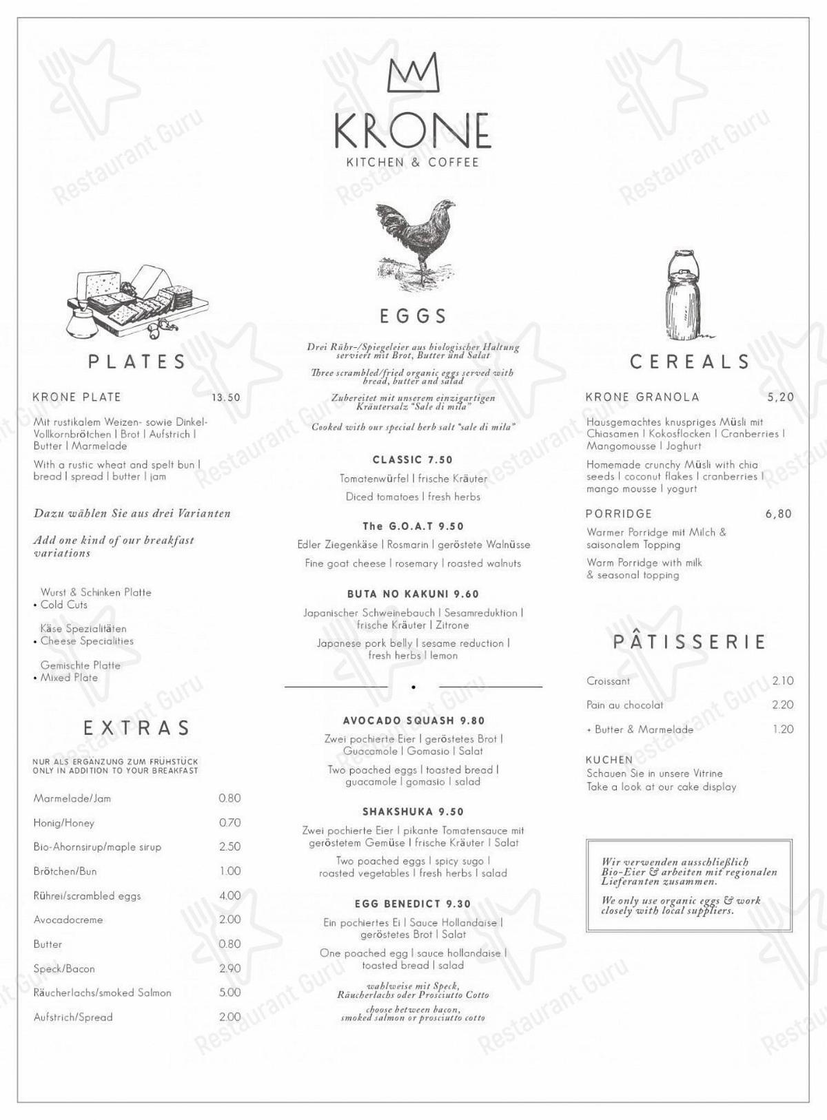 Carta de Café Krone - platos y bebidas