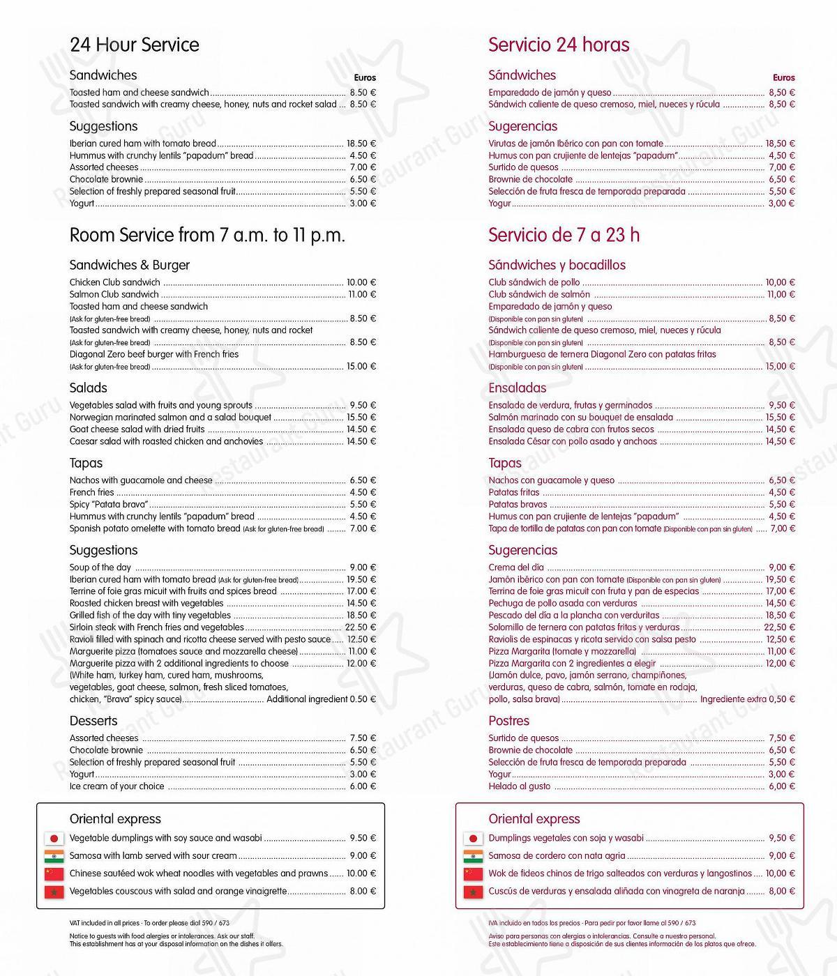 Service Menu for ECHO Restaurant in Barcelona
