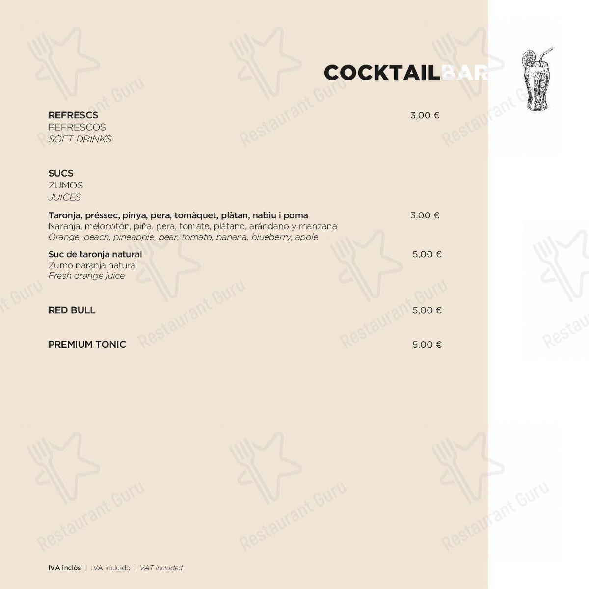 Cocktail Bar menu for ECHO Restaurant in Barcelona