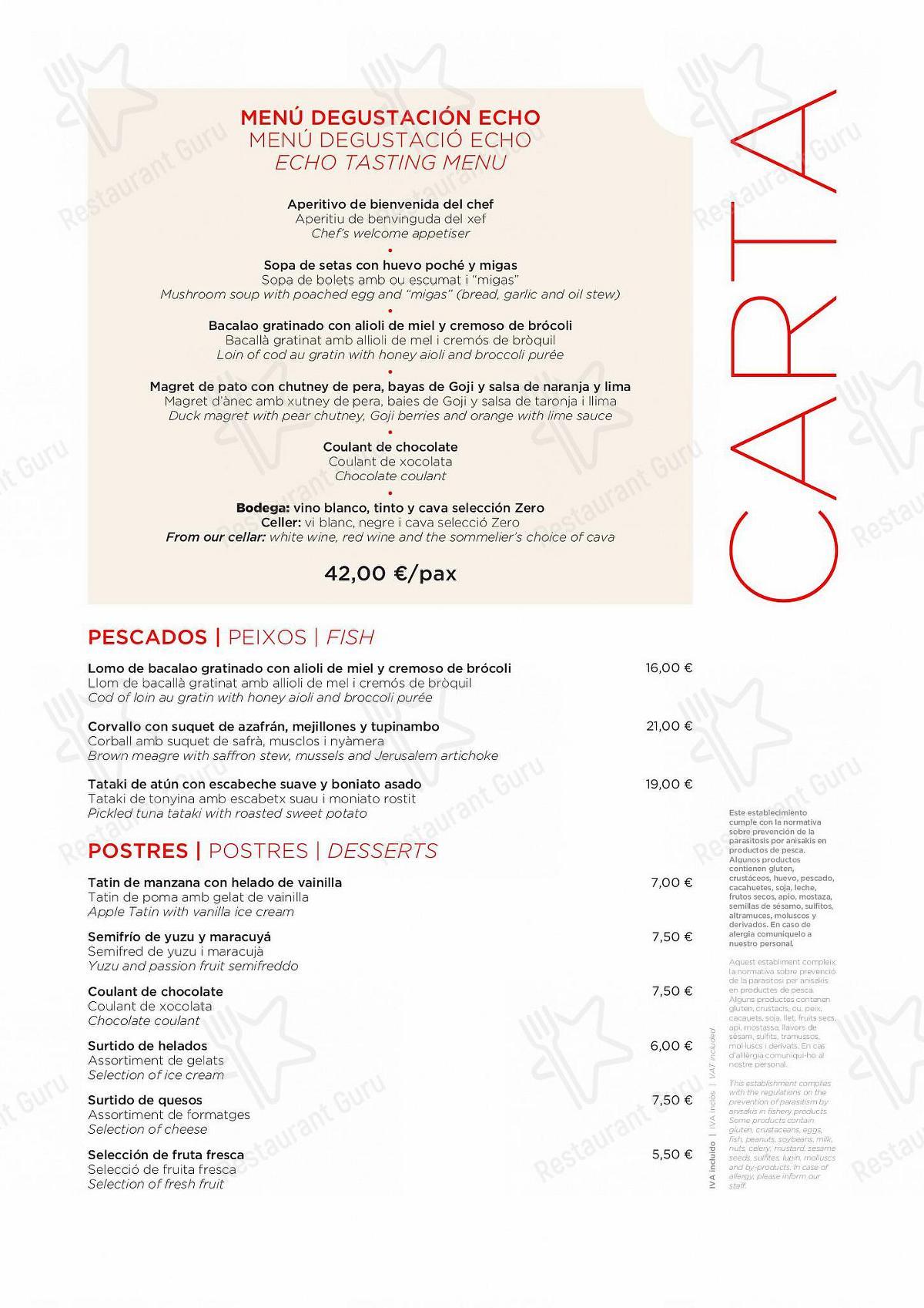 ECHO Restaurant menu - meals and drinks