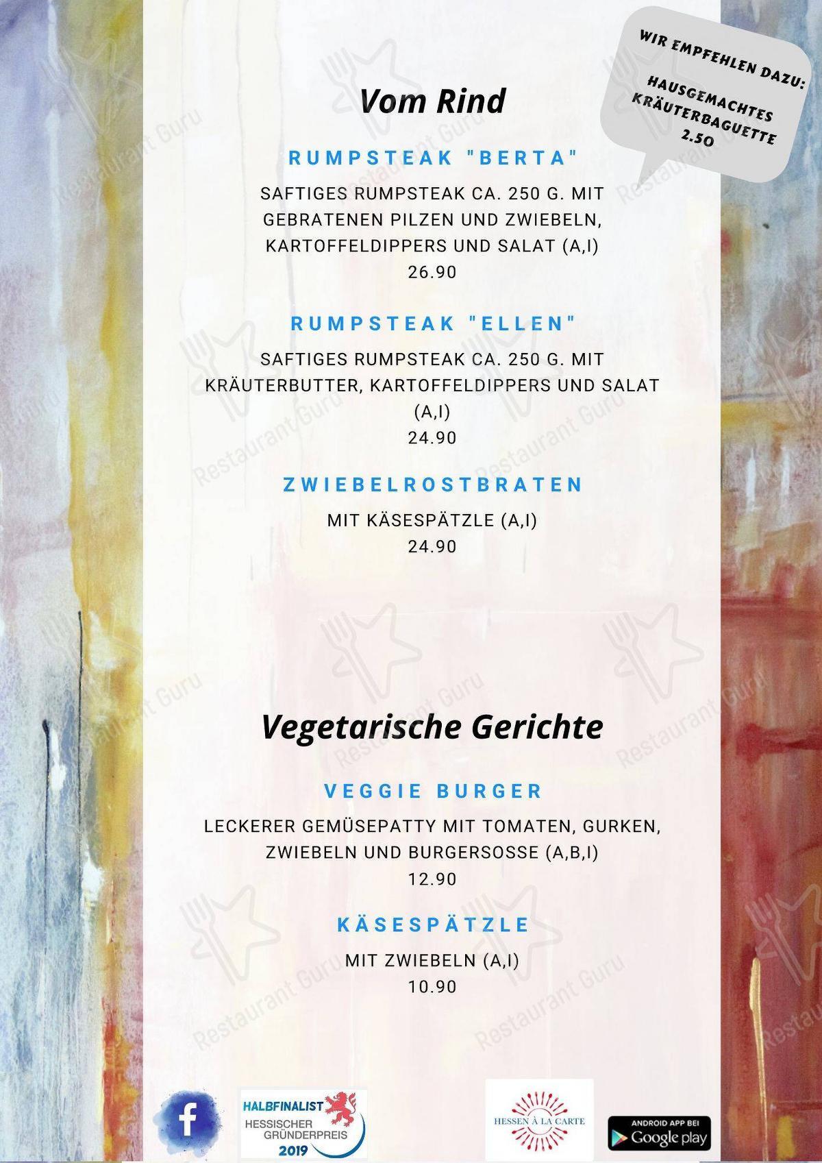 Меню Restaurant Künstlerhaus Lenz - еда и напитки
