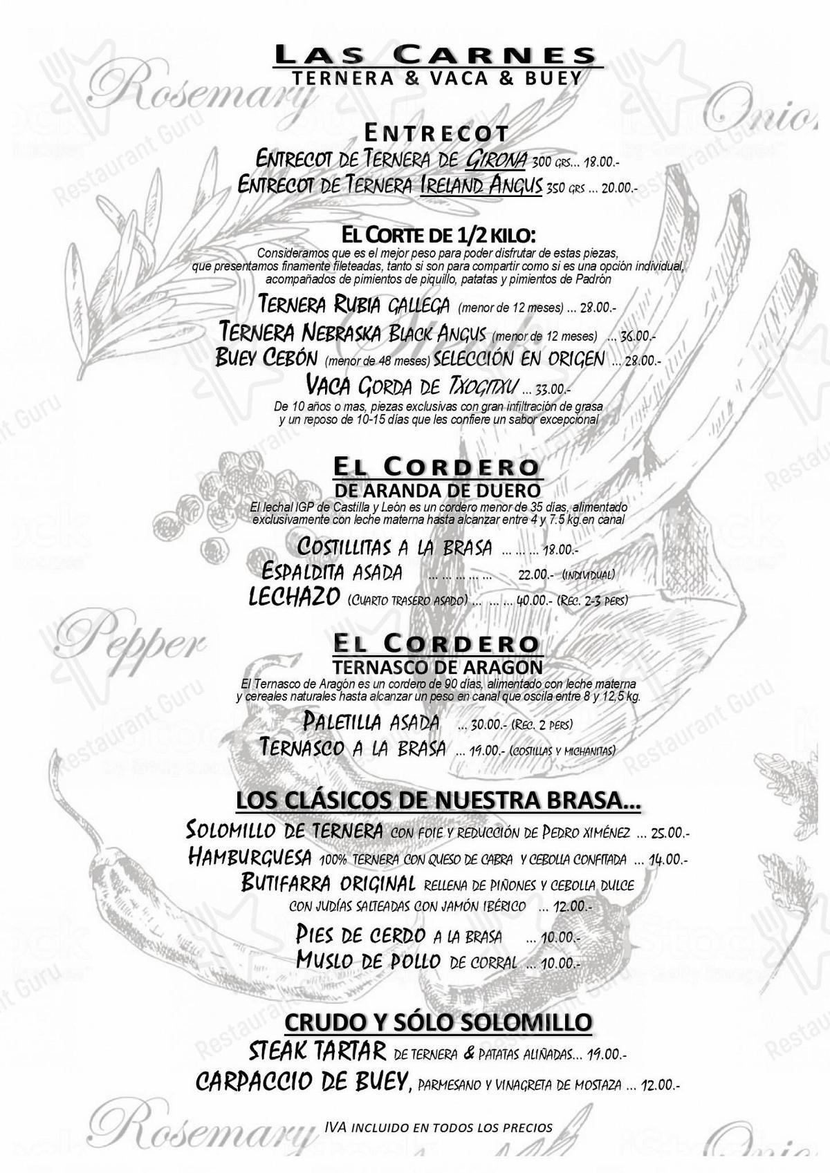 Carta de La Taberna de Lesseps - comidas y bebidas