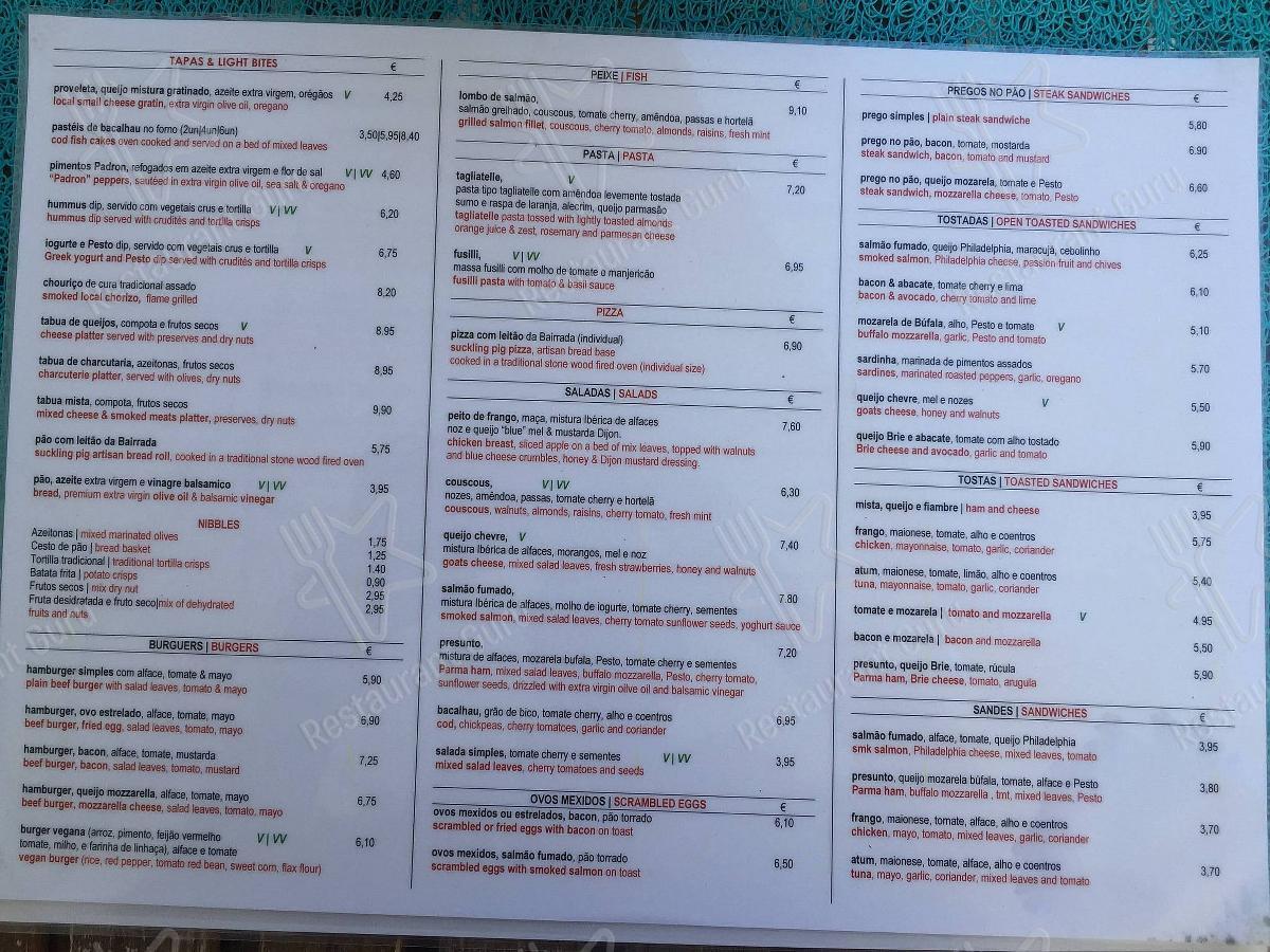 Luca menu - refeições e bebidas