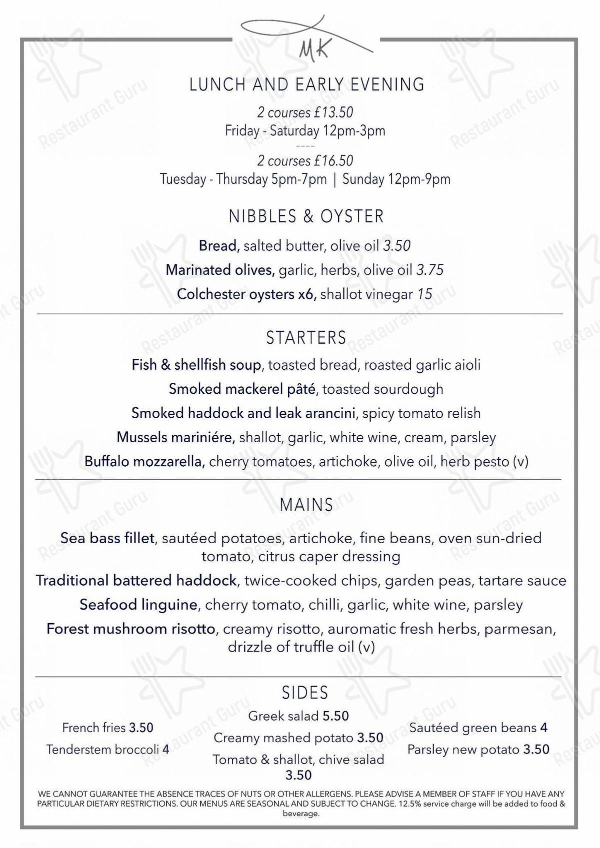 Menu At Matthew S Kitchen Seafood Grill Restaurant London 1290 High Rd