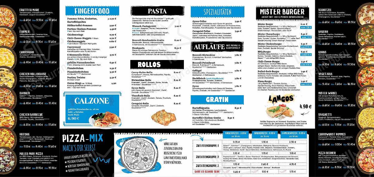 Seht euch die Speisekarte von Mister Pizza an