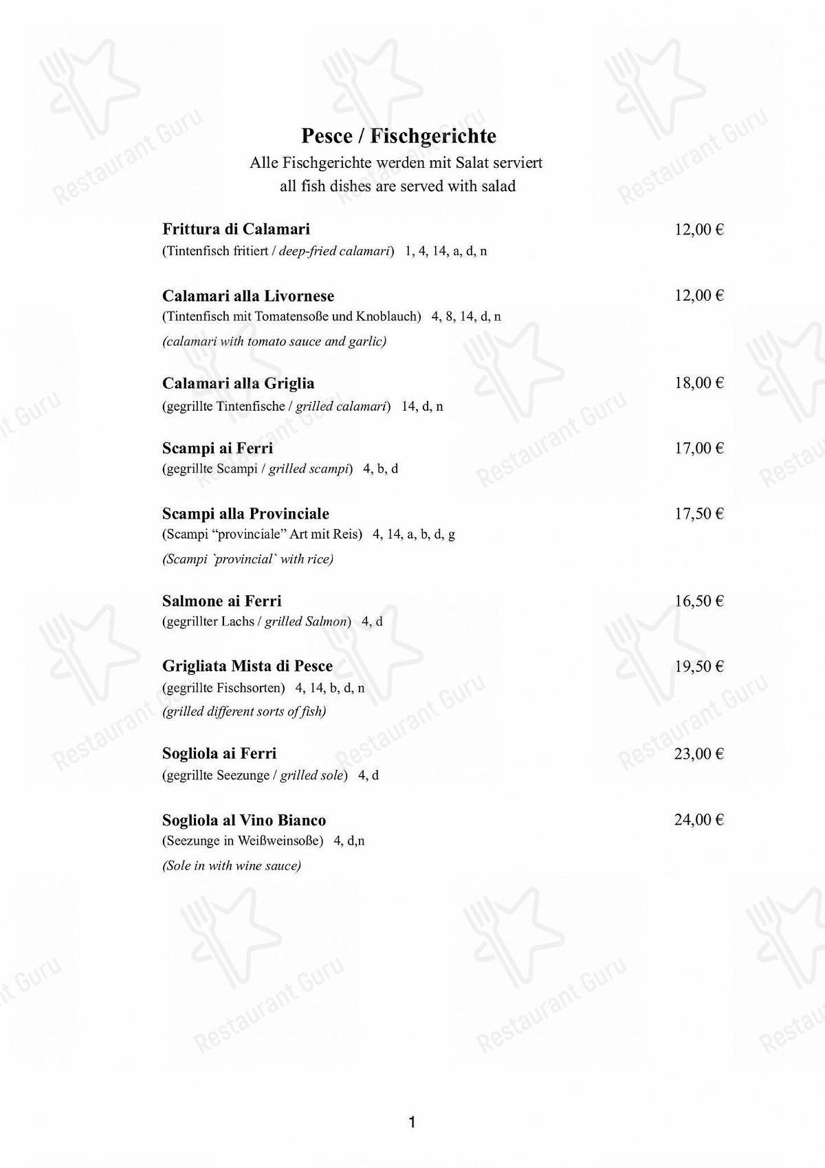Découvrez le menu pour Pizzeria Italia