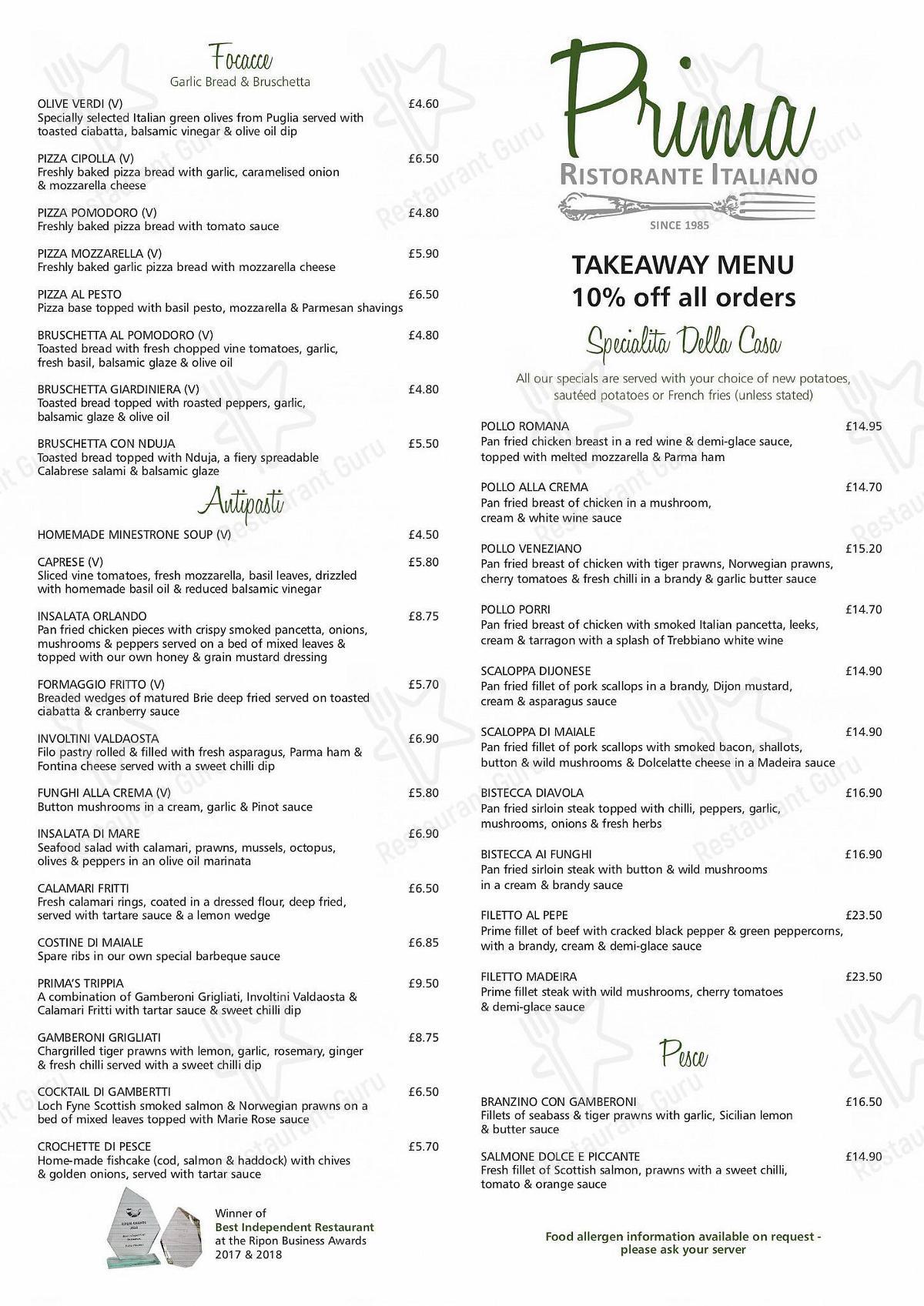 Prima menu