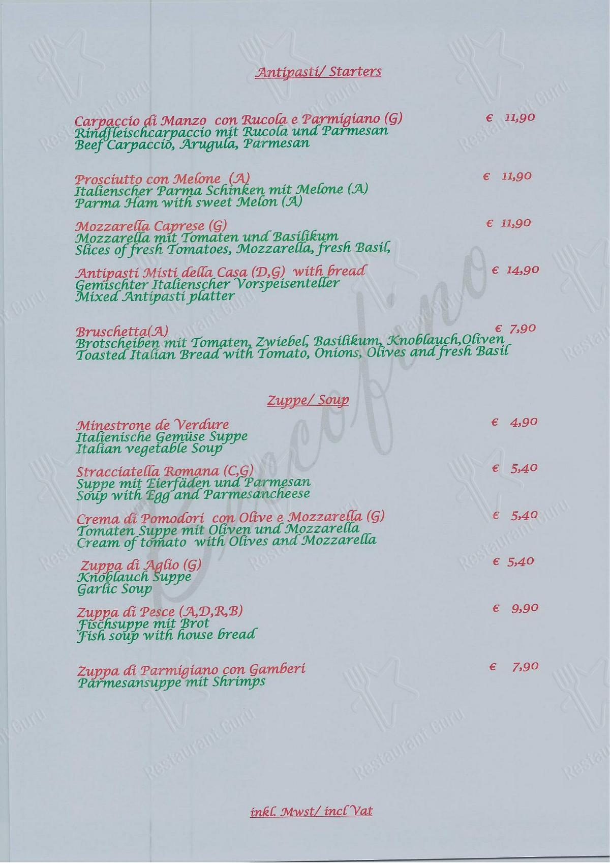Ristorante Beccofino menu - dishes and beverages