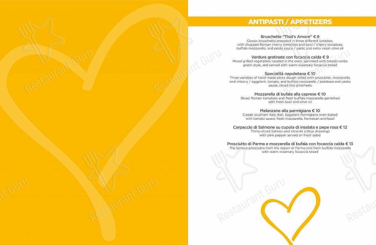 That's Amore Speisekarte - Essen und Getränke