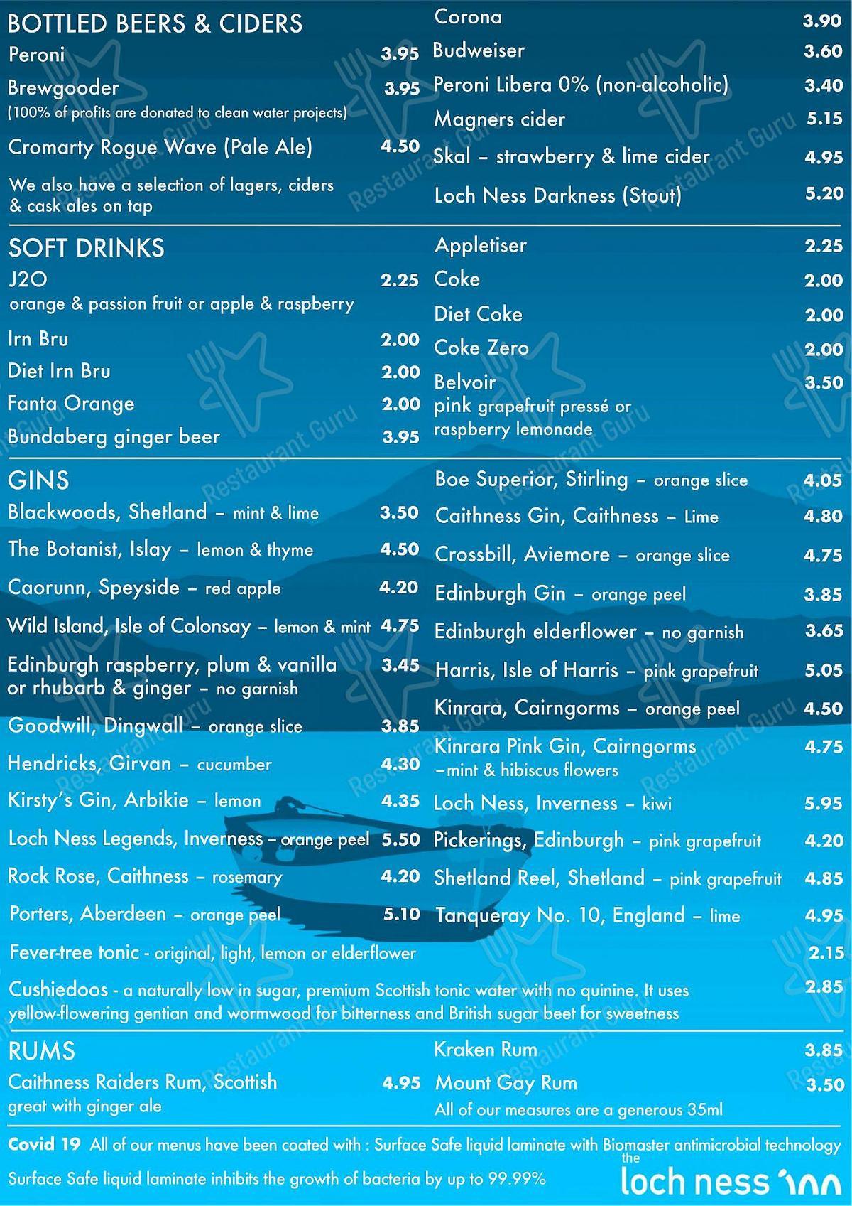 Carta de The Loch Ness Inn - comidas y bebidas