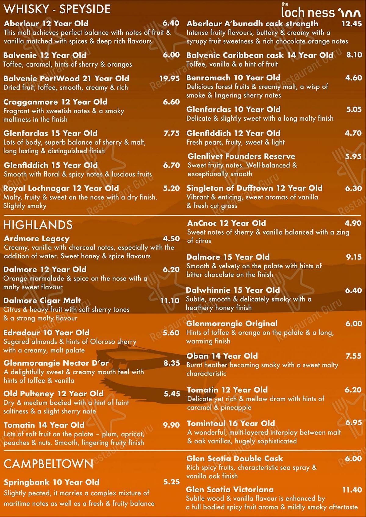 Carta de The Loch Ness Inn - platos y bebidas