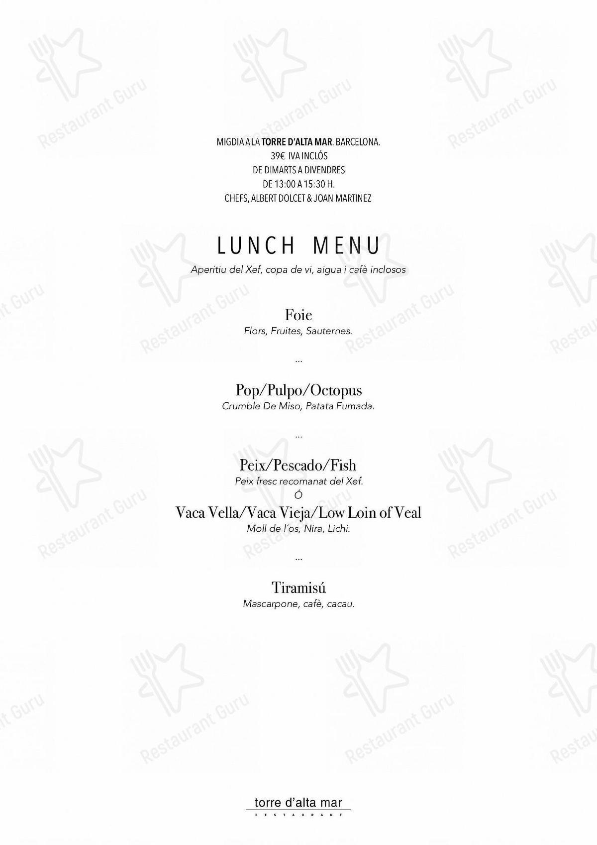 Torre d'Alta Mar menu - meals and drinks