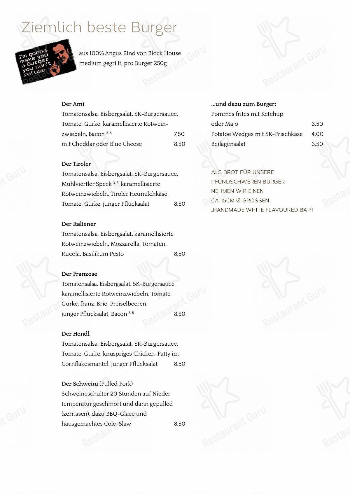 Stechl Keller menu - meals and drinks