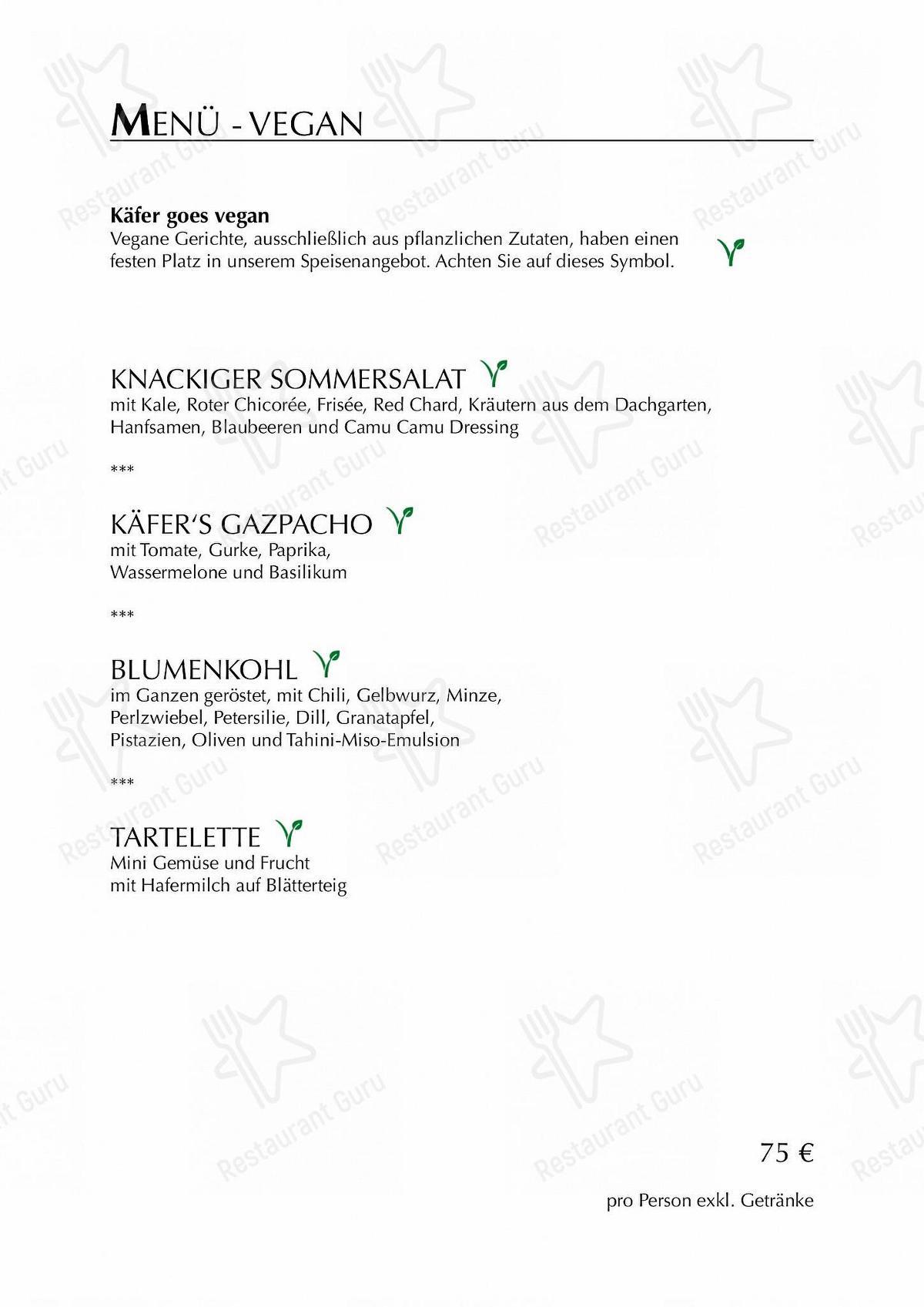 Käfer-Schänke Speisekarte - Restaurant Speisekarte