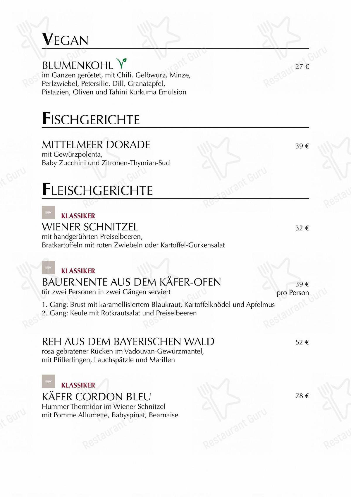 Käfer-Schänke in München - Restaurant Speisekarte
